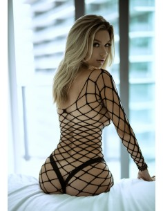 Long sleeve mini net dress
