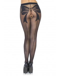 Woven bow crotchless pantyhose